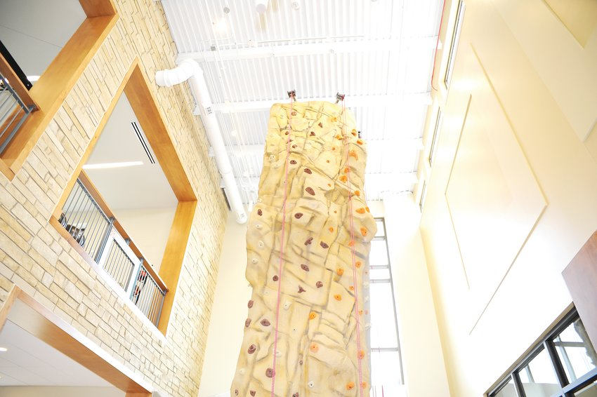 A two-story climbing wall is the focal point upon entering the new Trail Winds Recreation Center, at 136th Avenue and Holly Street in Thornton. The center is slated to open to the public Nov. 4.