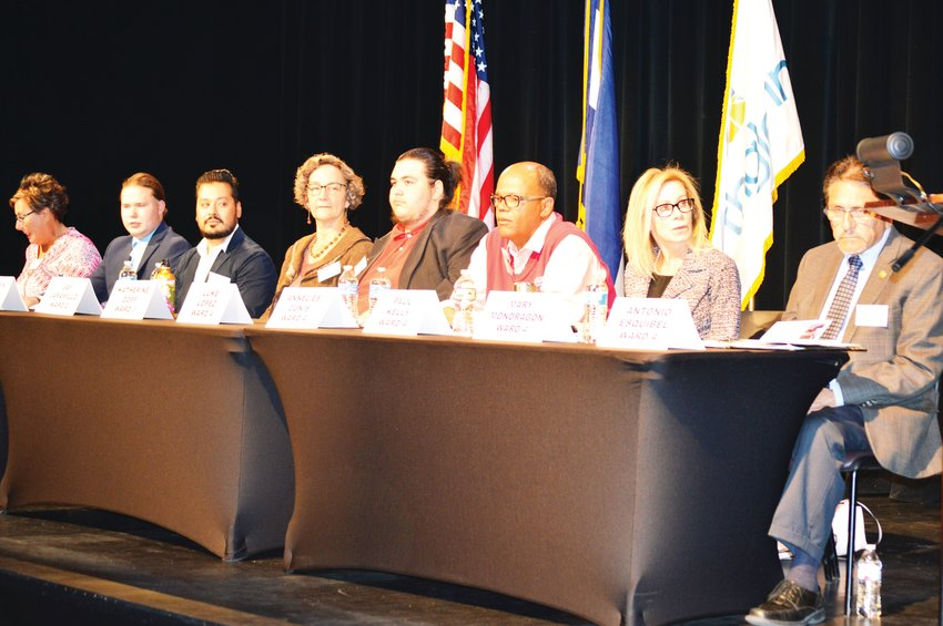 Candidates for Northglenn City Council settle in for a forum Oct. 16 at Northglenn's D. L. Parson's Theater.