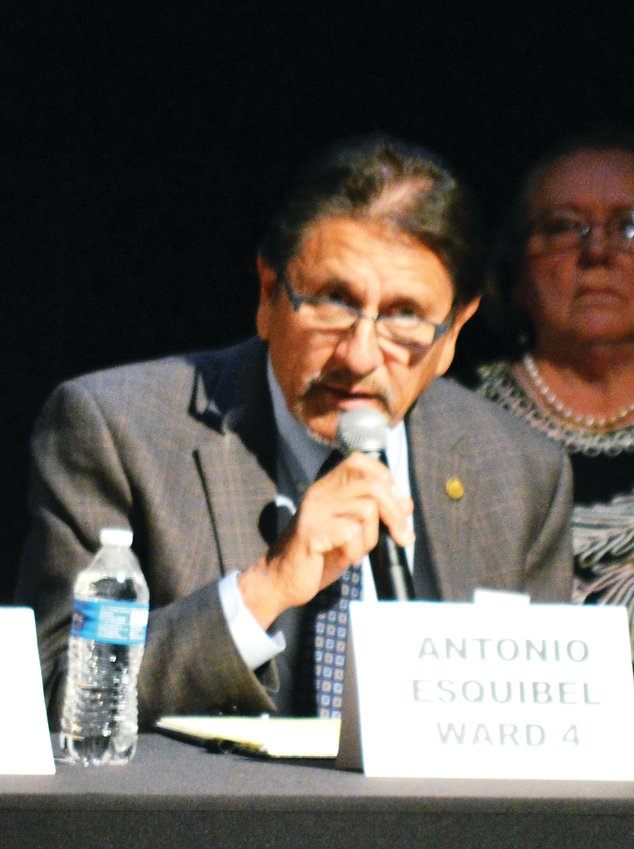 Antonio Esquibel, Northglenn's sitting mayor, makes a point during a candidate forum at the D.L. Parsons Theater in Northglenn Oct. 16. Esquibel is seeking the Ward 4 council seat.