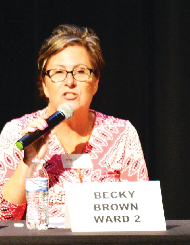 Becky Brown, seeking a second term as a Ward 2 City Councilor in Northglenn, makes a point at the candidate's forum Oct. 16 in Northglenn's D.L. Parson's Theater.