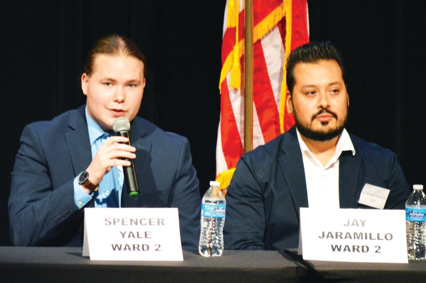 Northglenn Ward 2 City Council candidate Spencer Yale speaks while opponent Jay Michael Jaramillo listens Oct. 16 at a candidate forum.