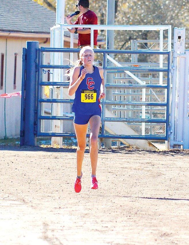 Cherry Creek sophomore Riley Stewart won the 5A individual race on Oct. 26 at the CHSAA state cross country championships held at the Norris Penrose Events Center in Colorado Springs. She recorded a time of 18:12.3 and helped the Bruins finish second behind state team champion Arapahoe.