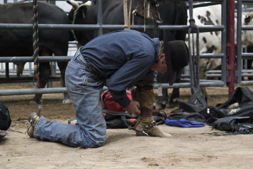 A bull rider straps on spurs before the Buckers Unlimited finals began on Oct. 26.