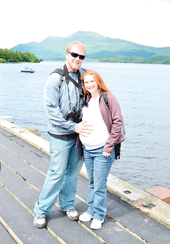 THEN: Eddie and Shahara Mattingly pose for a pregnancy picture in July 2012 in Loch Lomond, Scotland. Shahara was pregnant with their first child, Charlotte, who is now 7.