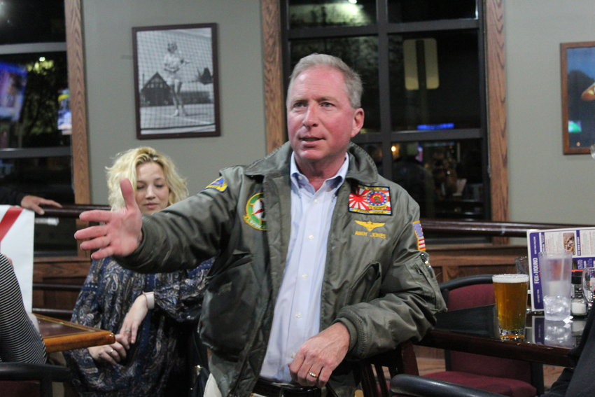 School board candidate Andy Jones addresses a watch party at the Fox and Hound restaurant in Lone Tree Nov. 5.
