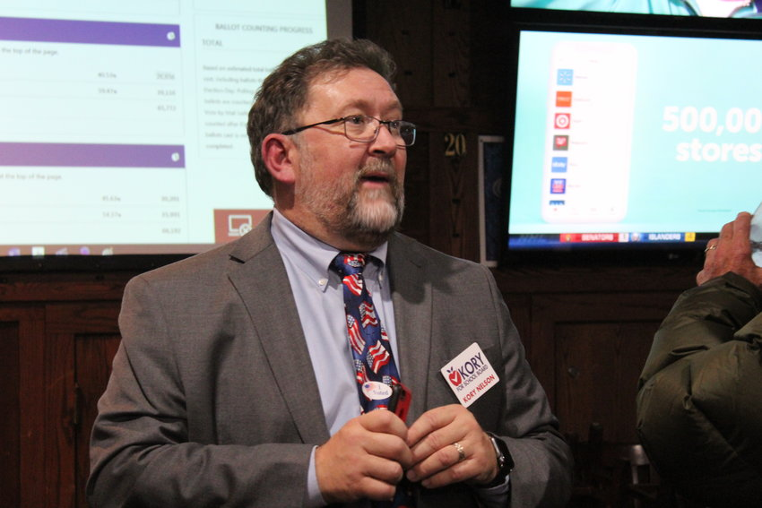 Kory Nelson speaks to supporters Nov. 5 at the Fox and Hound restaurant in Lone Tree as they keep tabs on the 2019 school board election.