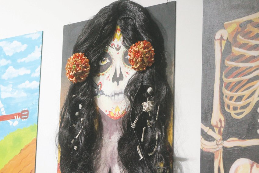 Mullen High School had their art hanging at the Pirate Contemporary Art studio in Lakewood. All of the art was dia de los muertos themed and coincided with the 40 West Arts District's Dia de los Muertos celebration.