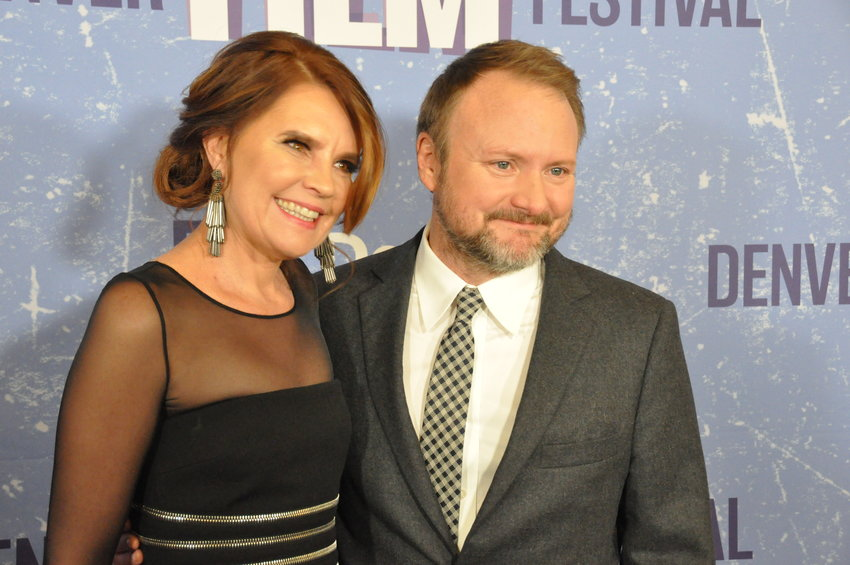 "Britta Erickson, Denver Film Festival Director and Interim Executive Director, on the red carpet with Rian Johnson, director of ""Knives Out"" and recipient of the 2019 John Cassavetes Award, on opening night of the 42nd annual Denver Film Festival."