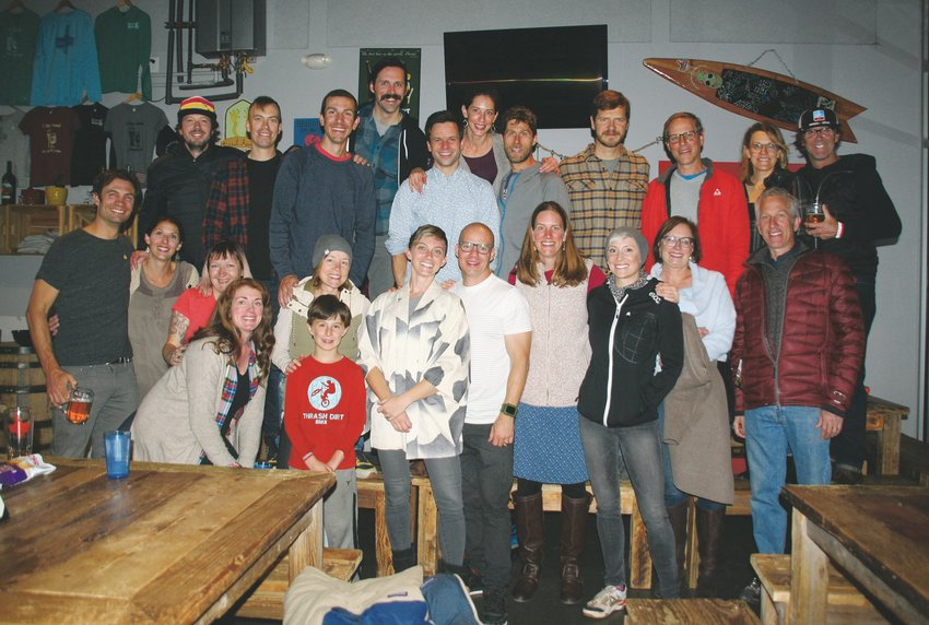 JJ Trout, pictured in the front in approximately the center, gathers her supporters for a group photo on Nov. 5 during her watch party at Barrels & Bottles in downtown Golden.