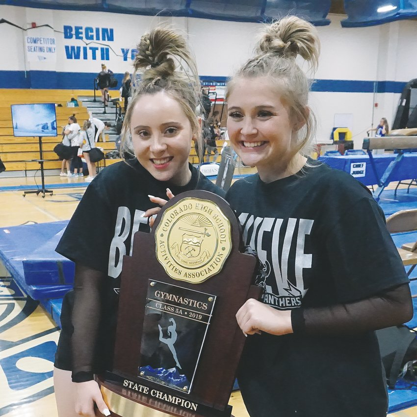 Wheat Ridge High School junior Mia Tims, left, and senior Kaylie Berens placed first and second in the individual all-around Nov. 7 at Thornton High School in helping Pomona to its fifth straight Class 5A team title.