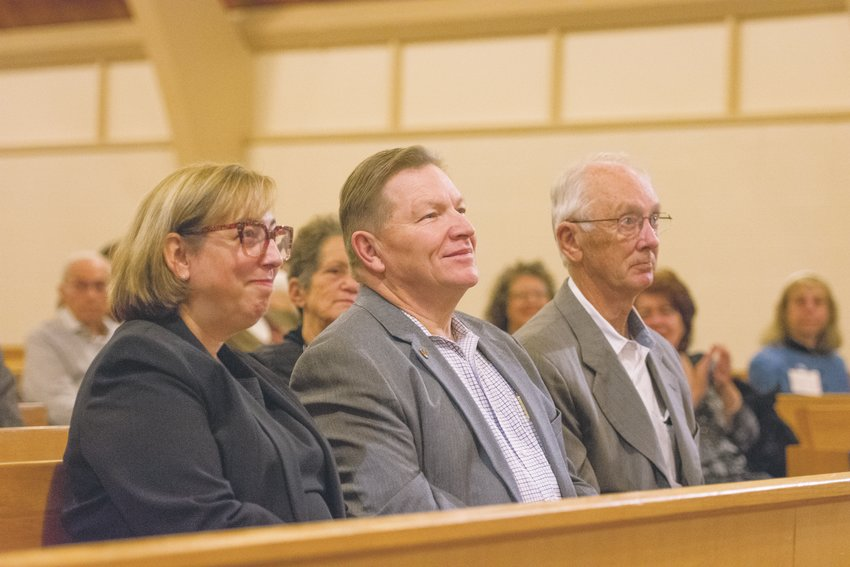 Westminster City Councilwoman Kathryn Skulley, Fire Chief Doug Hall, and Mayor Herb Atchison, attend the installation of Rabbi Boaz Heilman at Congregation B'nai Torah in Westminster, Saturday, Nov. 9.