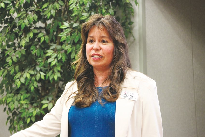 Arapahoe County Clerk and Recorder Joan Lopez discusses voting schedules and updates at a town hall meeting on Sept. 25.