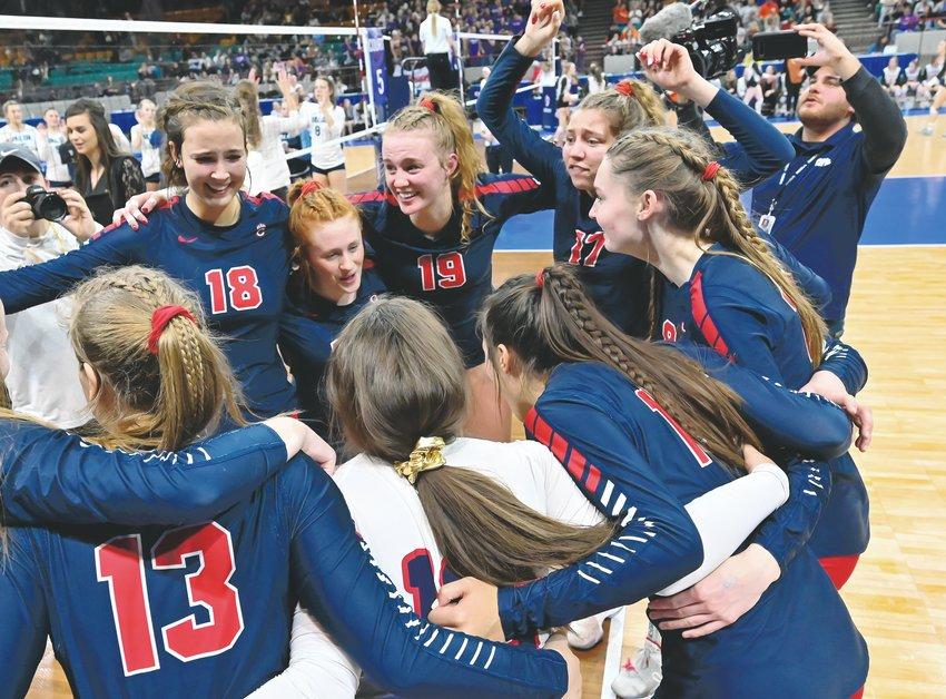 Chaparral players celebrate their 5A state championship after defeating Valor Christian 3-1 Nov. 16 at the Denver Coliseum.