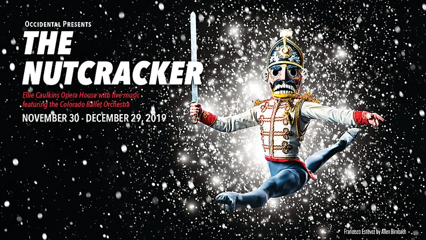 "Francisco Estevez leaps as the Nutcracker King in the 50th annual Colorado Ballet performance of Tchiakovsky's ""Nutcracker"" ballet."