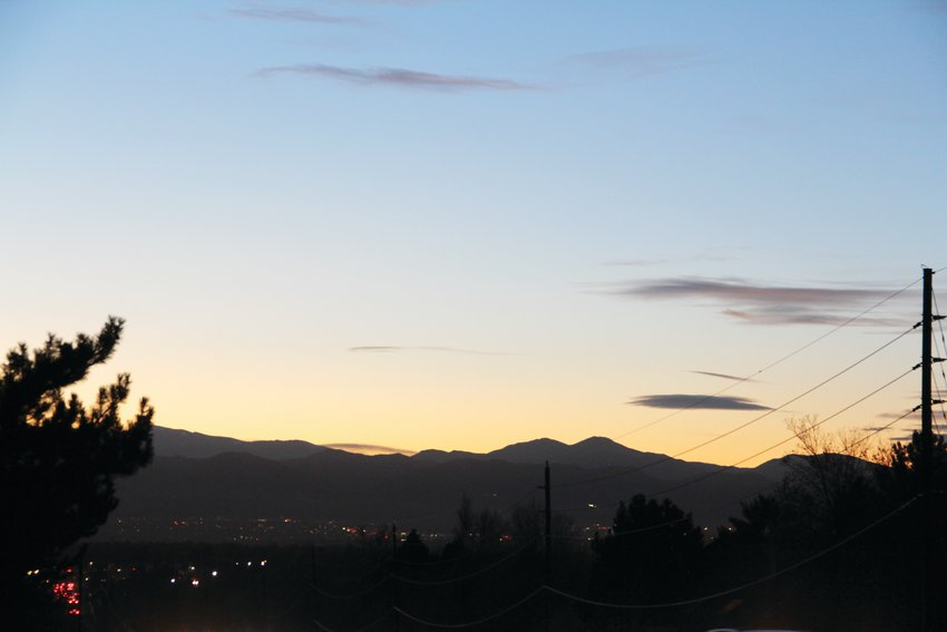 The sunset at 5 p.m., looking northwest from East Arapahoe Road and South Colorado Boulevard on Nov. 19 in Centennial.