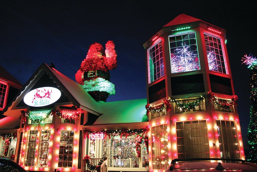 St. Nicks is the Denver metro area's sole remaining year-round Christmas emporium, but the statue of Santa Claus only rises from the roof in November and December.