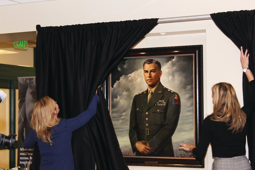 Staff reveal the newly renovated portrait of Maj. Gen. Maurice Rose, the hospital's namesake and the highest ranking Jewish man to serve in World War II. Rose was raised in Denver and lived there until his death while serving in Germany.
