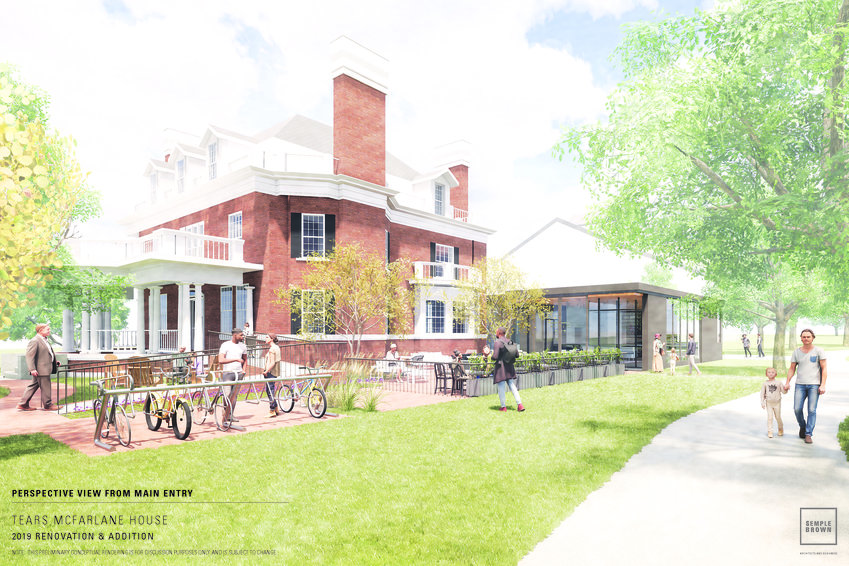This rendering shows a new design for the annex building at the Tears-McFarlane House adjacent to Cheesman Park in Denver. Capitol Hill United Neighborhoods, which is headquartered at the house, will use the annex space as a new community cafe.