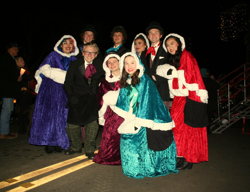 Golden High School's 24th Street Singers gather for a photo during the Candlelight Walk in downtown Golden on Dec. 6.