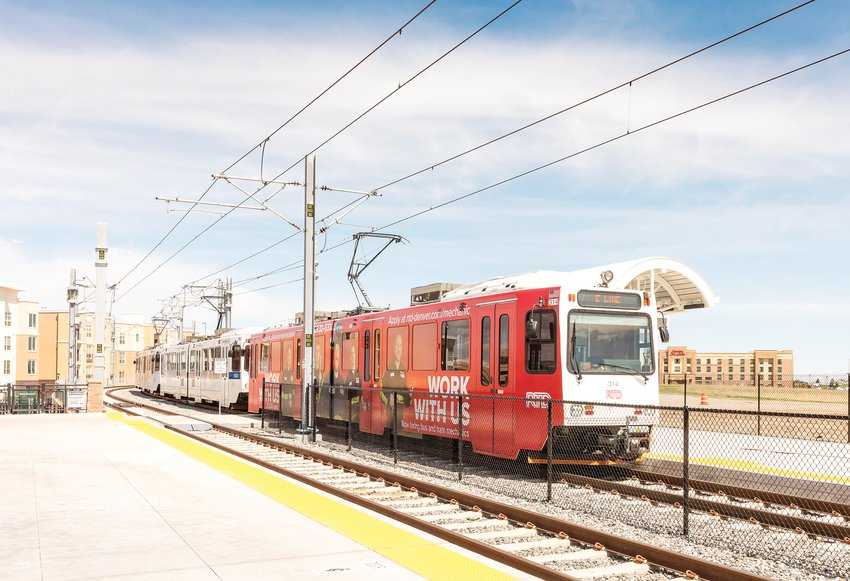 The Sky Ridge Station was one of the three new light rail stations that opened in May as part of the Southeast Rail Extension project in Lone Tree.