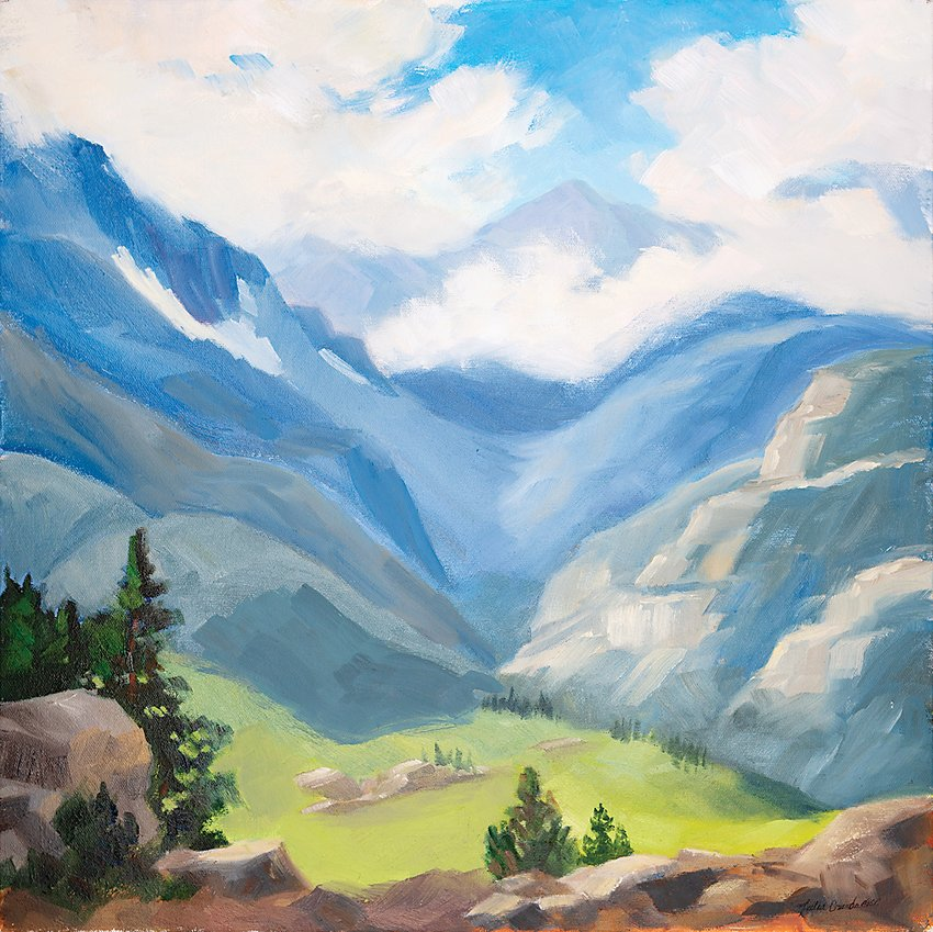 """Wild Blue Yonder"" oil painting by Julia Grundmeier in ""Near and Far"" at Bemis Library."