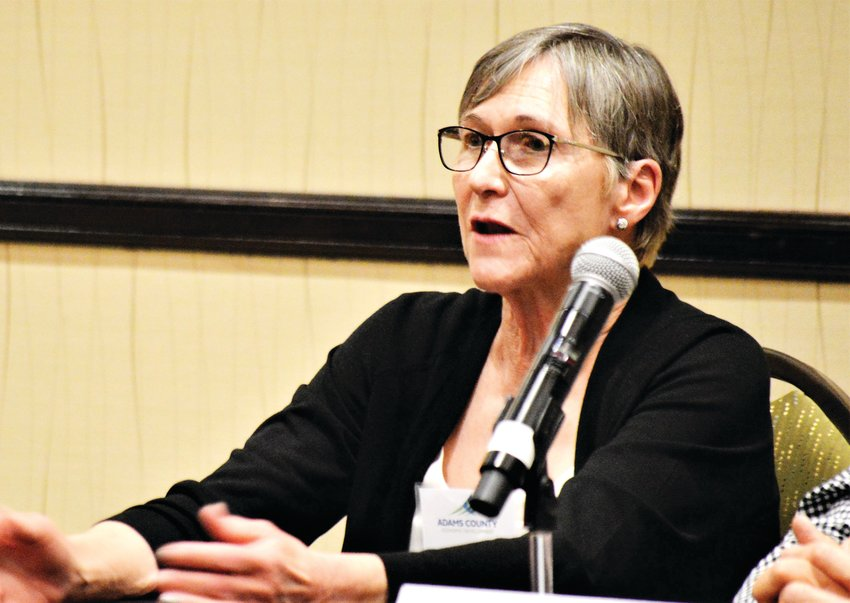 Mary Stevenson, president of heating system manufacturer Deltech talks about the challenges of small business Dec. 4 at an Adams County Economic Development luncheon. Stevenson sat on a panel of local businesses that talked about local manufacturing.