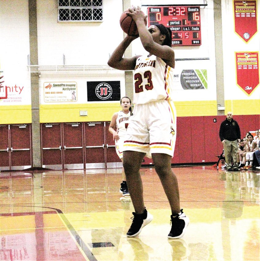 Against Vista Peak Dec. 11, Northglenn sophomore Emelyn Tineo Gonzalez drills the open shot.