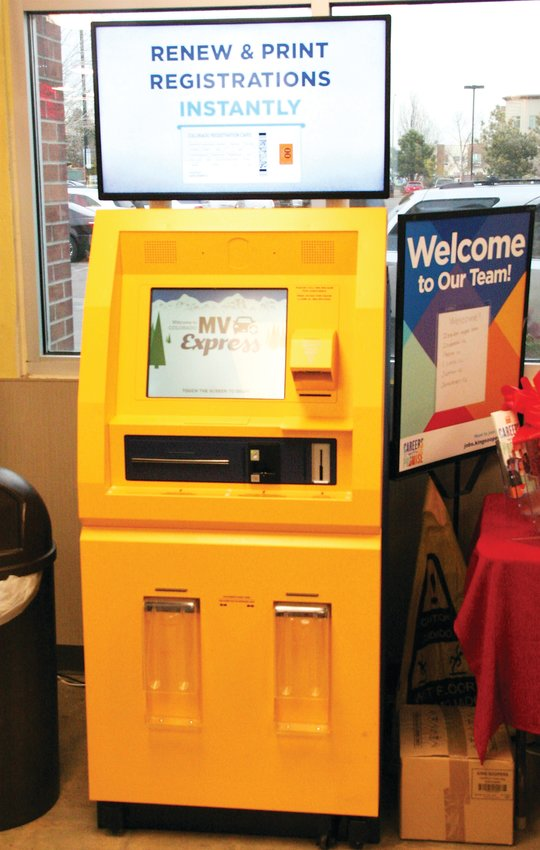 Below, the MV Express kiosk at the King Soopers at 7984 West Alameda Avenue in Lakewood. The kiosk is one of five in Jefferson County that residents can use to renew their vehicle registration.