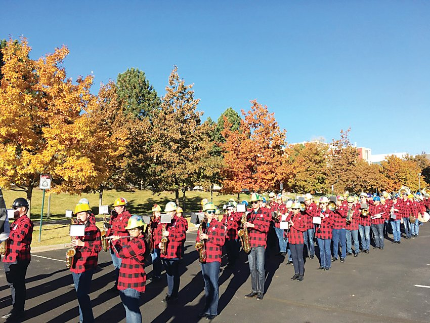 Members of the History Arts and Social Sciences Colorado School Of Mines Marching Band perform on the Colorado School Of Mines campus prior to Homecoming earlier this year.