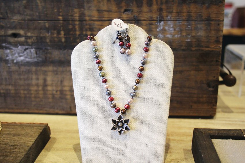A necklace at Sarah DeAngelo Jewelry. DeAngelo says her work is inspired by traditional Native American silversmiths and ancient jewelry from Africa, Europe and India.