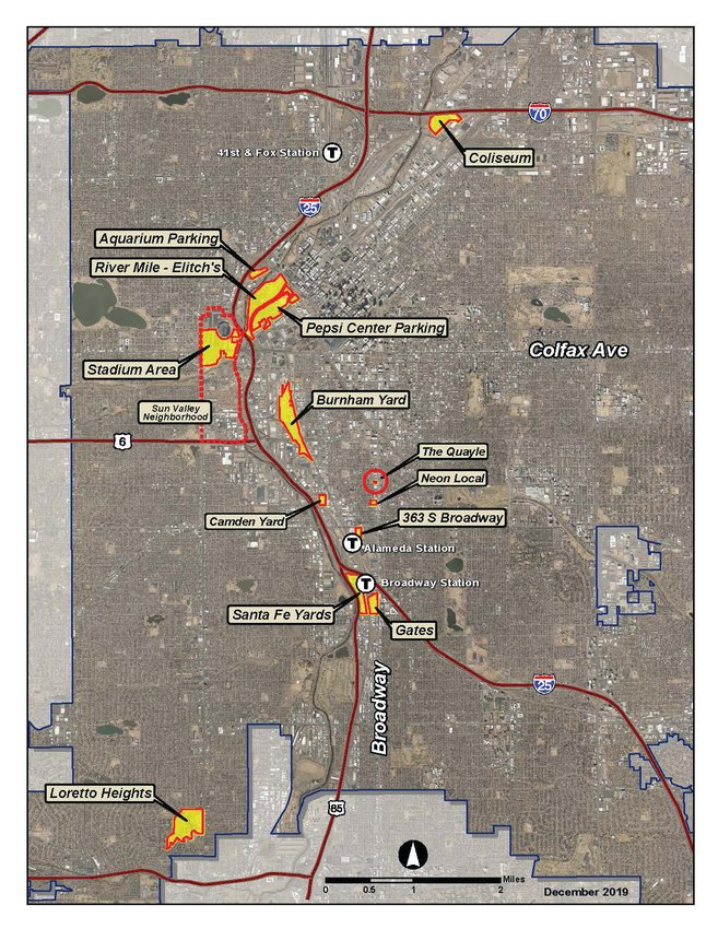 A map showing several of the development projects in the pipeline near the Interstate 25 corridor.