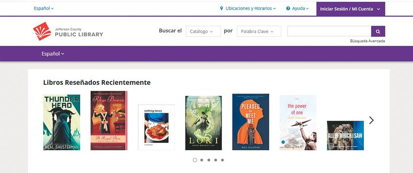 A screenshot of homepage for the new Spanish-language version of the Jefferson County Library website.