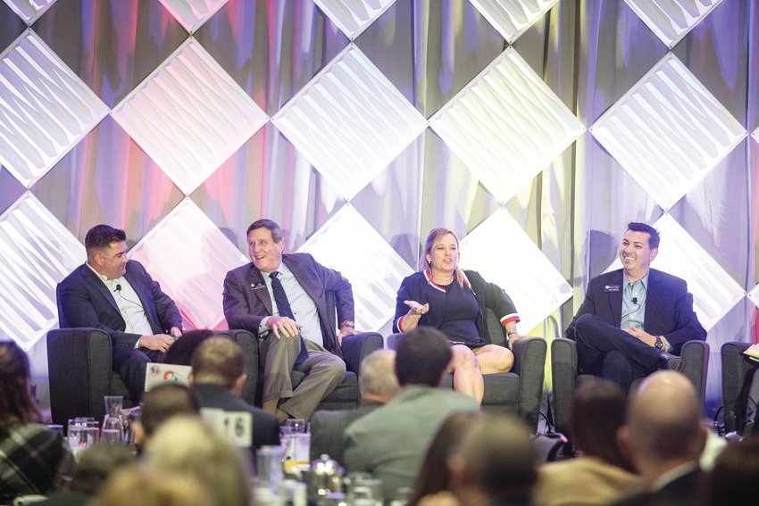 From left, House Minority Leader Patrick Neville, Senate Assistant Minority Leader John Cooke, House Speaker K.C. Becker and Senate President Leroy Garcia on stage at the annual Business Legislative Preview. The Jan. 7 event in downtown Denver was hosted by the Denver Metro Chamber of Commerce and the Colorado Competitive Council, a business advocacy organization.