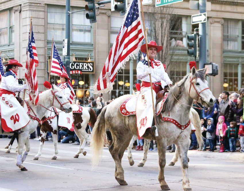The Westernaires, a youth equestrian organization based in Jefferson County, perform during the Stock Show Kick-off Parade in downtown Denver on Jan. 9.