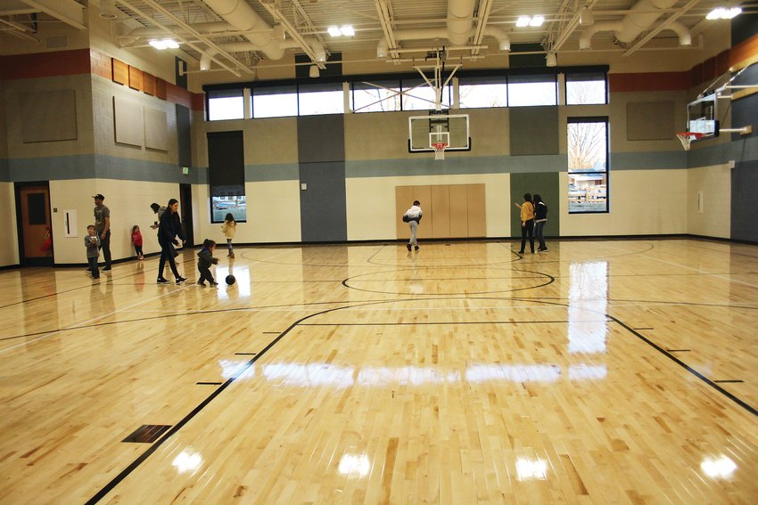 The new gym at Bishop Elementary School. The school allows for the gym and the commons to open up to become one big space for community gatherings.