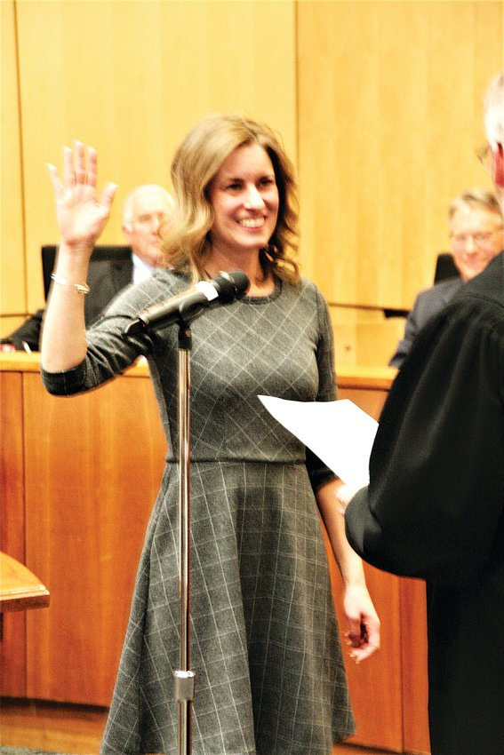 Laura Weinberg is sworn in as Golden's new mayor at the city council meeting on Thursday, Jan. 9.