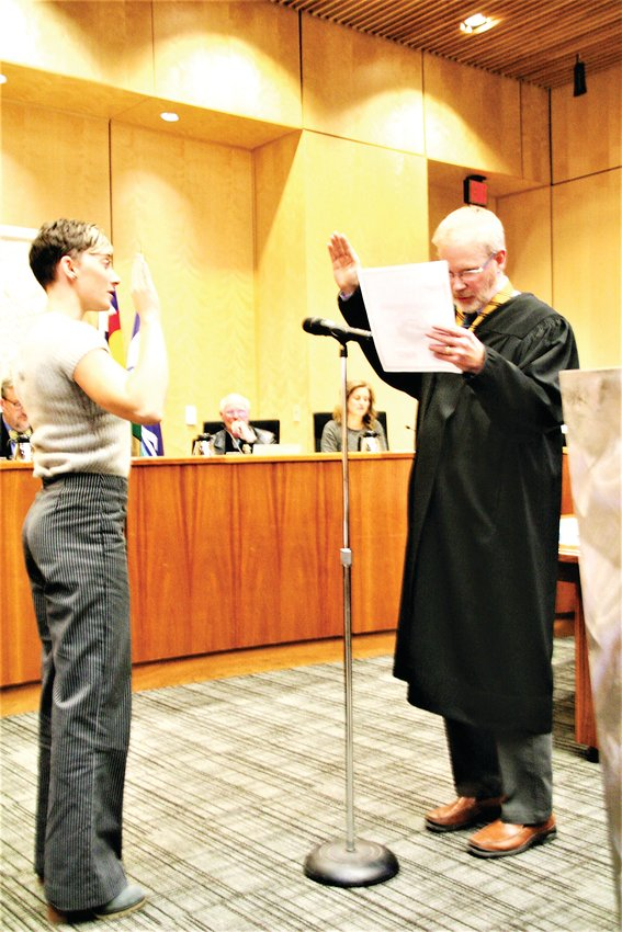 JJ Trout is sworn in as the new councilwoman from District 1 in Golden at the city council meeting on Thursday, Jan. 9.