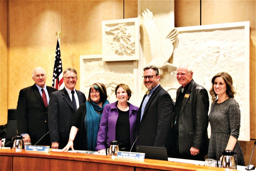 The outgoing Golden city council posed for a final photo in the council chambers before the new council was seated on Thursday, Jan. 9. More about outgoing Mayor Marjorie Sloan can be found on PAGE 6.