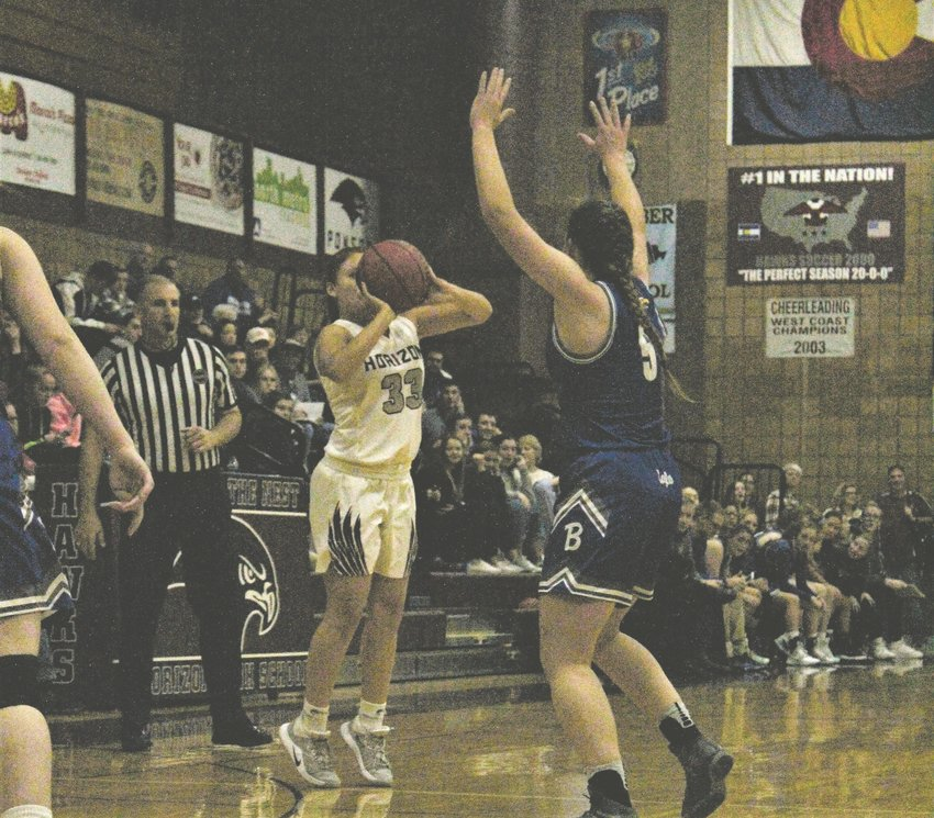 Against Broomfield in the conference opener Jan. 10, Horizon senior CC Denava shoots the three-pointer at home.