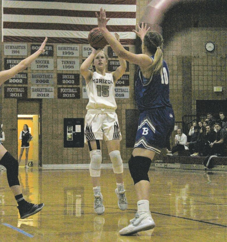 Horizon senior Olivia Waufle knocks down the jumper Jan. 10 against Broomfield.