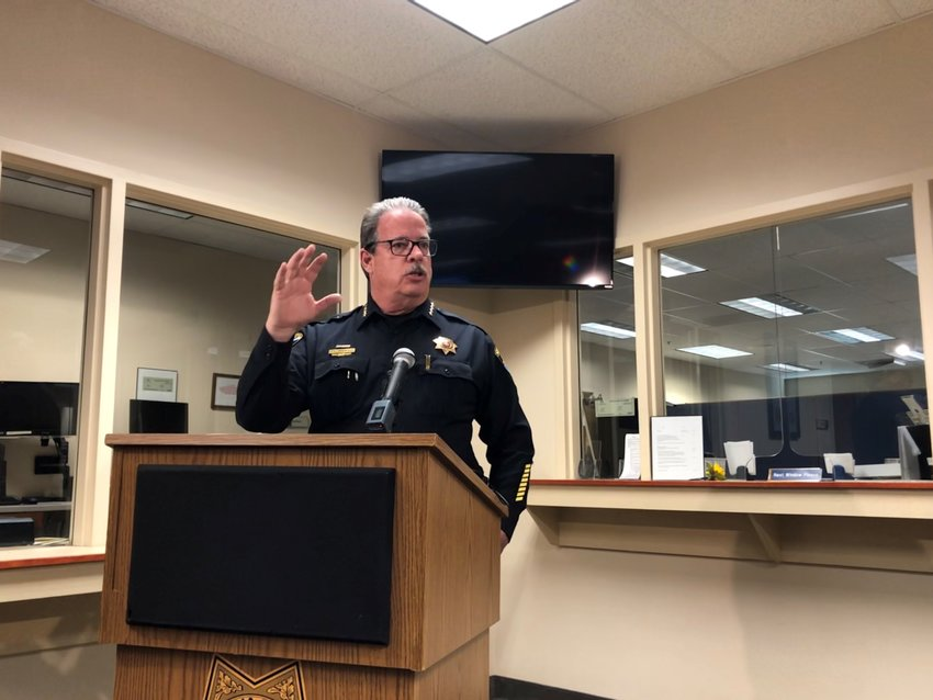 Sheriff Tony Spurlock speaks at a press conference at the Douglas County Sheriff's Office Wednesday, Jan. 15.
