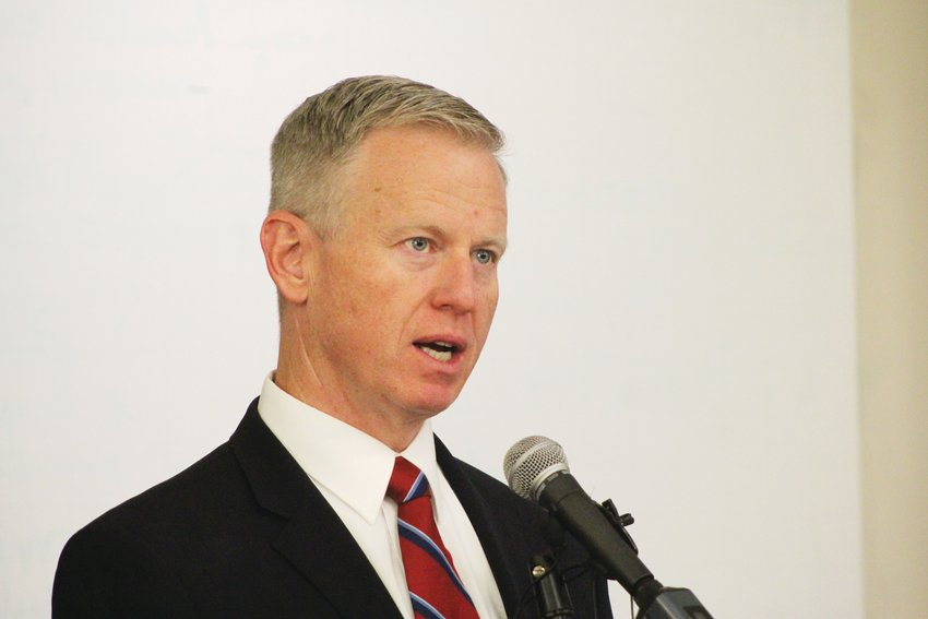 George Brauchler, shown here at a July 2019 press conference, was first elected district attorney for the 18th Judicial District in 2012.