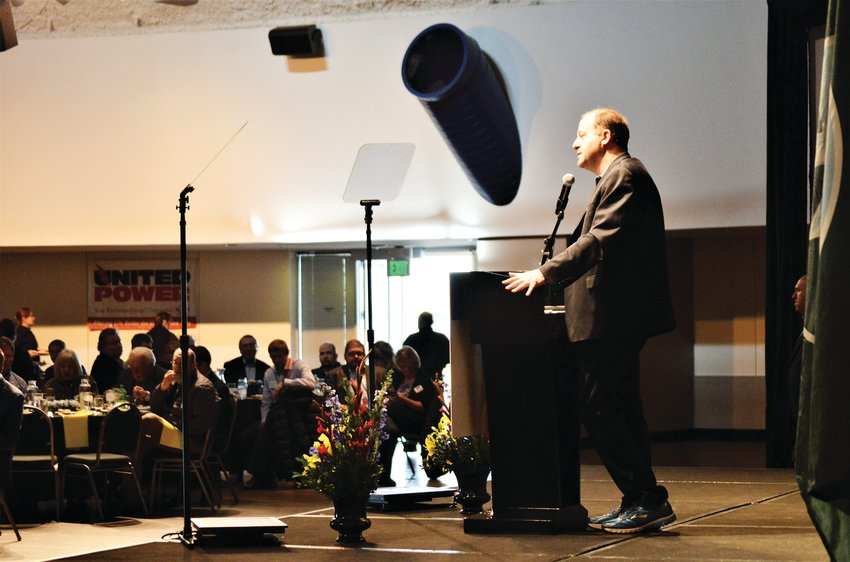 Colorado Governor Jared Polis addresses a chamber of commerce luncheon Jan. 16 in Adams County's Waymire Dome in Henderson. Polis was on hand to present an Adams County-specific version of his State of the State address to the newly renamed Metro North Partnership group.