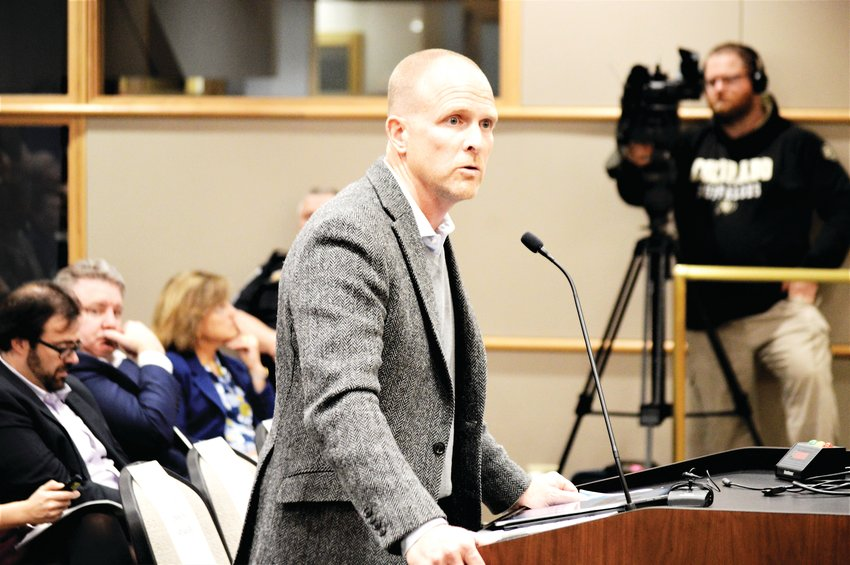 Lead Developer Jeff Handlin of Oread Capital addresses the Westminster Planning Commission Jan. 14 about his proposed Uplands development that would bring more than 2,000 housing units to the Shaw Heights area of Westminster. The commission recommended approval of a definition for three of five parcels in the project. That now goes to the Westminster City Council.