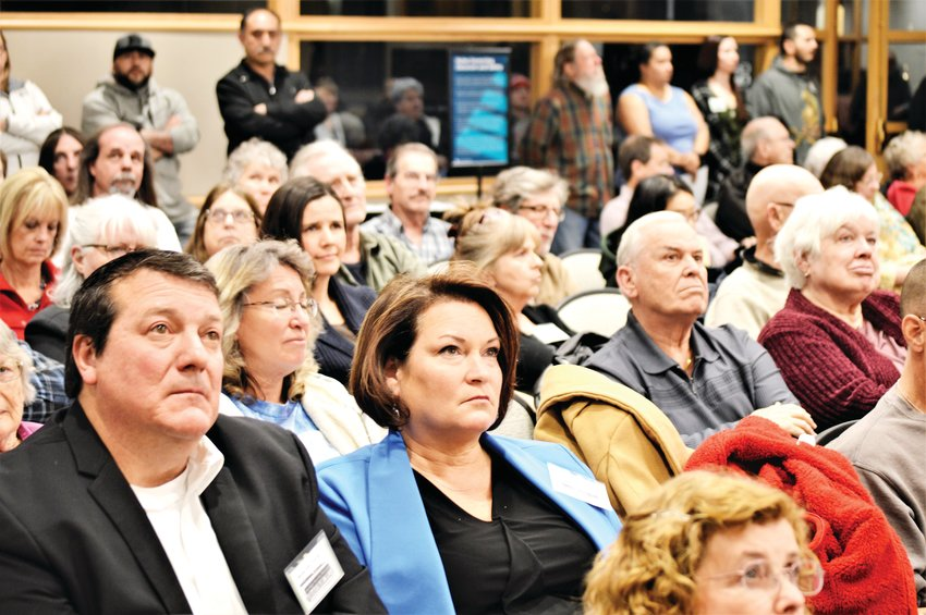 Residents watch a promotional video touting the Uplands development Jan. 14 during a Westminster Planning Commission meeting.