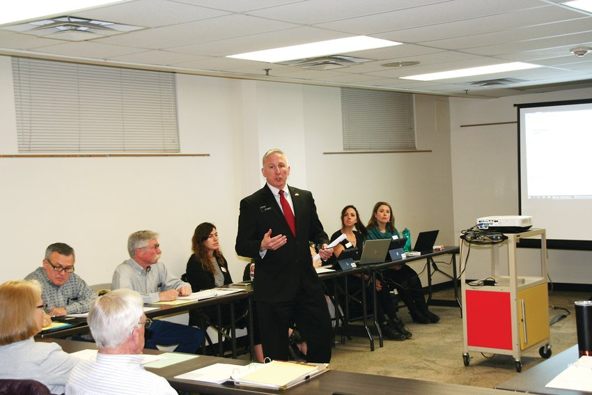 Don Davis addresses the Jefferson County Fairgrounds Advisory Board on Jan. 20.