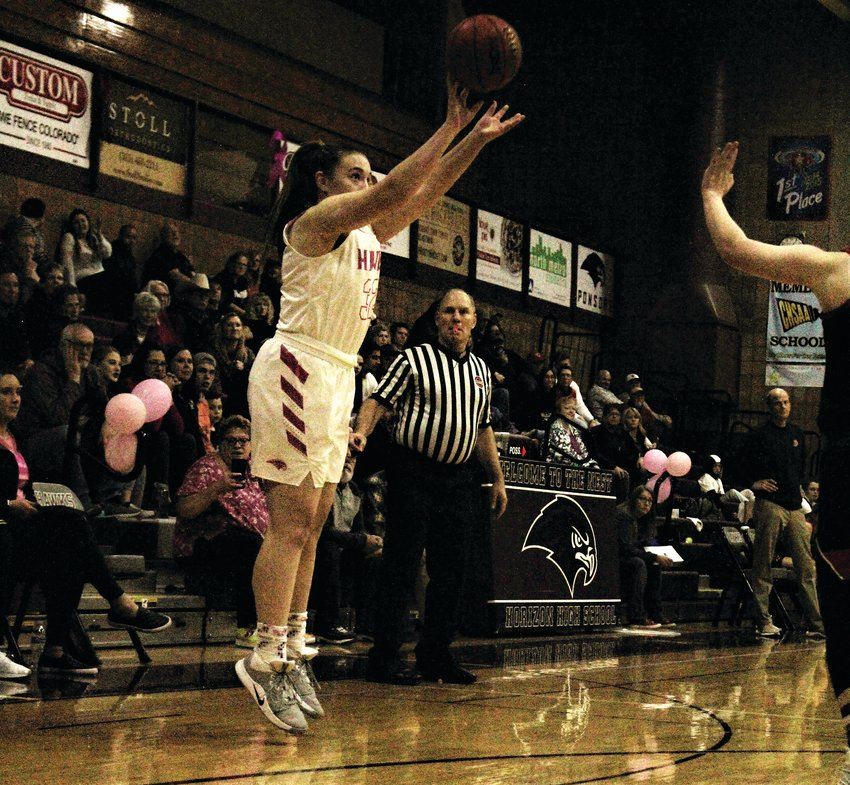 Jan. 24, Horizon sophomore Alyssa Temple launches the three-pointer against Loveland.