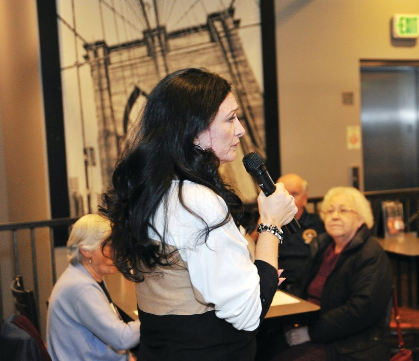 "Northglenn Mayor Meredith Leighty addresses constituents attending a ""Mingle with the Mayor"" session at Parry's Pizza in the Webster Lake Promenade Jan. 21."