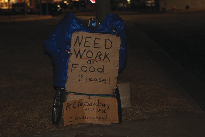 A sign and belongings of a homeless person on West Colfax. The point-in-time survey is led by the Metro Denver Homeless Initiative.