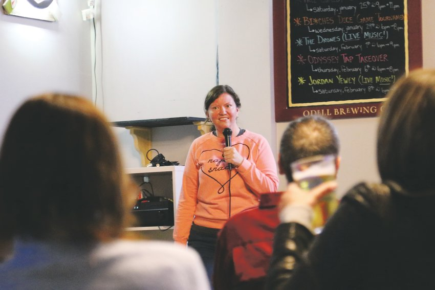 Local comedian Mandy Kay delivers her set at a suburban stand-up showcase in Highlands Ranch.